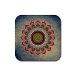 Folk Art Lotus Mandala Dirty Blue Red Rubber Coaster (Square)  Front