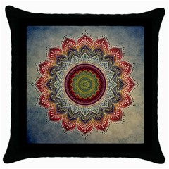 Folk Art Lotus Mandala Dirty Blue Red Throw Pillow Case (Black)