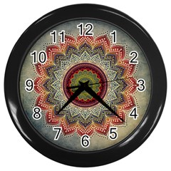 Folk Art Lotus Mandala Dirty Blue Red Wall Clocks (black)
