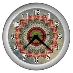 Folk Art Lotus Mandala Dirty Blue Red Wall Clocks (Silver)