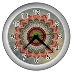 Folk Art Lotus Mandala Dirty Blue Red Wall Clocks (Silver)  Front