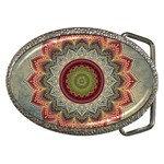 Folk Art Lotus Mandala Dirty Blue Red Belt Buckles Front