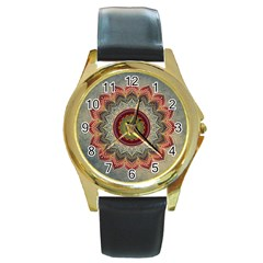 Folk Art Lotus Mandala Dirty Blue Red Round Gold Metal Watch