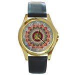 Folk Art Lotus Mandala Dirty Blue Red Round Gold Metal Watch Front