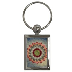 Folk Art Lotus Mandala Dirty Blue Red Key Chains (rectangle)