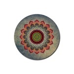 Folk Art Lotus Mandala Dirty Blue Red Rubber Round Coaster (4 pack)  Front