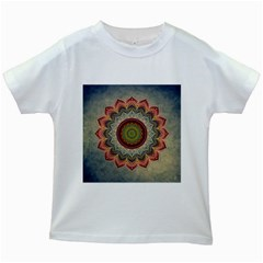 Folk Art Lotus Mandala Dirty Blue Red Kids White T-Shirts