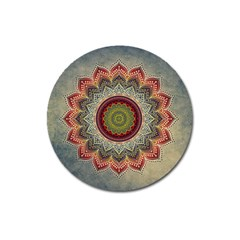 Folk Art Lotus Mandala Dirty Blue Red Magnet 3  (round)