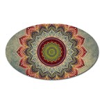Folk Art Lotus Mandala Dirty Blue Red Oval Magnet Front