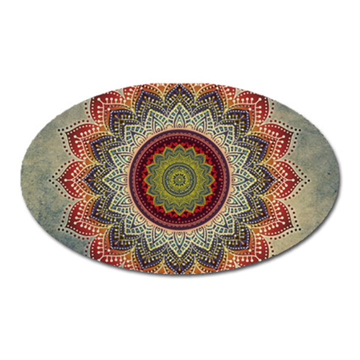 Folk Art Lotus Mandala Dirty Blue Red Oval Magnet