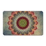 Folk Art Lotus Mandala Dirty Blue Red Magnet (Rectangular) Front