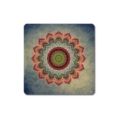 Folk Art Lotus Mandala Dirty Blue Red Square Magnet