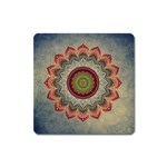 Folk Art Lotus Mandala Dirty Blue Red Square Magnet Front