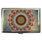 Folk Art Lotus Mandala Dirty Blue Red Cigarette Money Cases Front