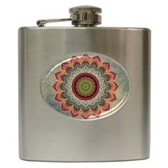 Folk Art Lotus Mandala Dirty Blue Red Hip Flask (6 Oz)