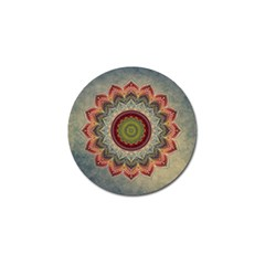 Folk Art Lotus Mandala Dirty Blue Red Golf Ball Marker (4 Pack)