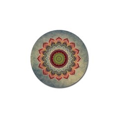 Folk Art Lotus Mandala Dirty Blue Red Golf Ball Marker (10 pack)