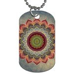 Folk Art Lotus Mandala Dirty Blue Red Dog Tag (Two Sides) Front