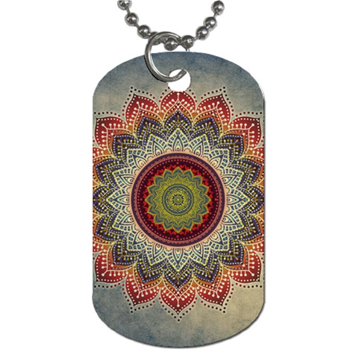 Folk Art Lotus Mandala Dirty Blue Red Dog Tag (Two Sides)