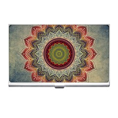 Folk Art Lotus Mandala Dirty Blue Red Business Card Holders