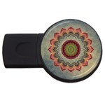Folk Art Lotus Mandala Dirty Blue Red USB Flash Drive Round (1 GB)  Front