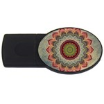 Folk Art Lotus Mandala Dirty Blue Red USB Flash Drive Oval (2 GB)  Front