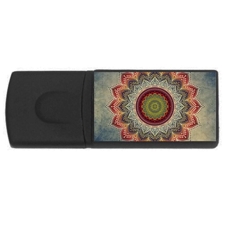Folk Art Lotus Mandala Dirty Blue Red USB Flash Drive Rectangular (2 GB)