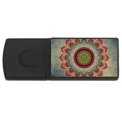 Folk Art Lotus Mandala Dirty Blue Red USB Flash Drive Rectangular (1 GB)