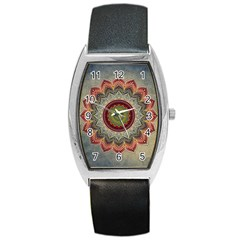 Folk Art Lotus Mandala Dirty Blue Red Barrel Style Metal Watch