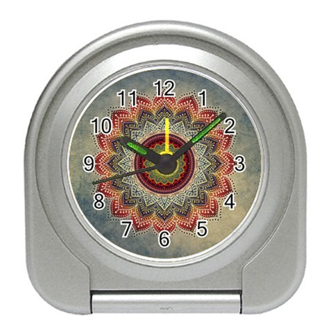 Folk Art Lotus Mandala Dirty Blue Red Travel Alarm Clocks