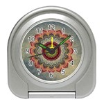 Folk Art Lotus Mandala Dirty Blue Red Travel Alarm Clocks Front