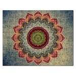 Folk Art Lotus Mandala Dirty Blue Red Rectangular Jigsaw Puzzl Front