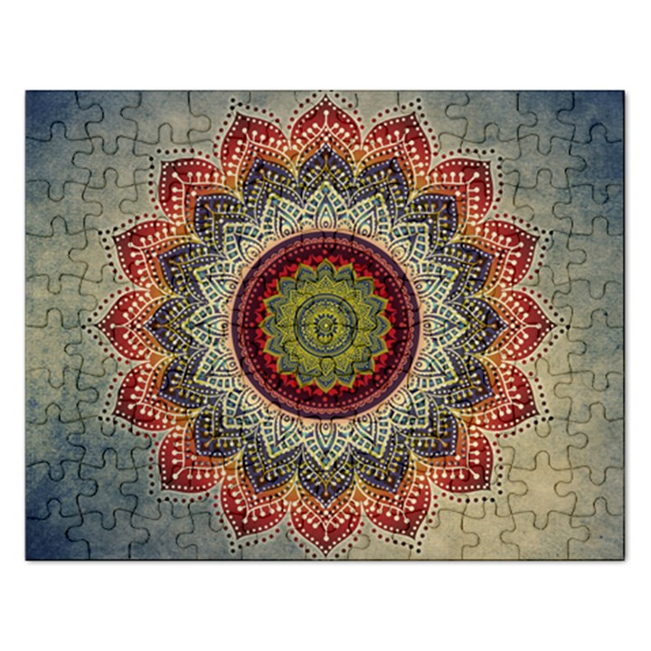 Folk Art Lotus Mandala Dirty Blue Red Rectangular Jigsaw Puzzl