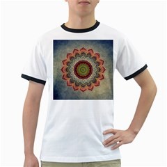 Folk Art Lotus Mandala Dirty Blue Red Ringer T-Shirts