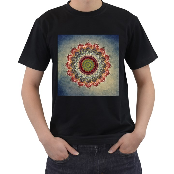 Folk Art Lotus Mandala Dirty Blue Red Men s T-Shirt (Black) (Two Sided)