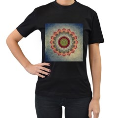 Folk Art Lotus Mandala Dirty Blue Red Women s T-Shirt (Black) (Two Sided)