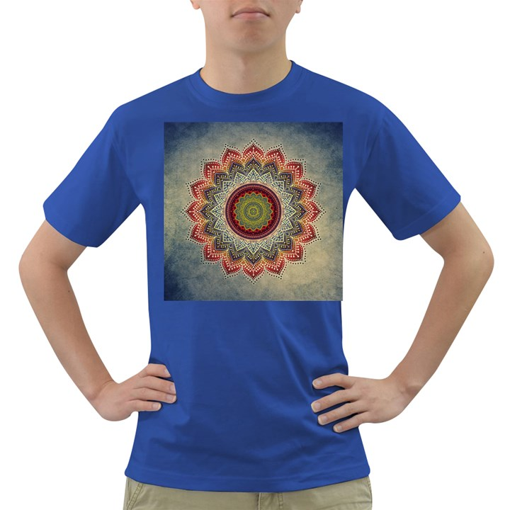Folk Art Lotus Mandala Dirty Blue Red Dark T-Shirt