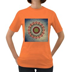 Folk Art Lotus Mandala Dirty Blue Red Women s Dark T Shirt