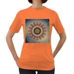 Folk Art Lotus Mandala Dirty Blue Red Women s Dark T-Shirt Front