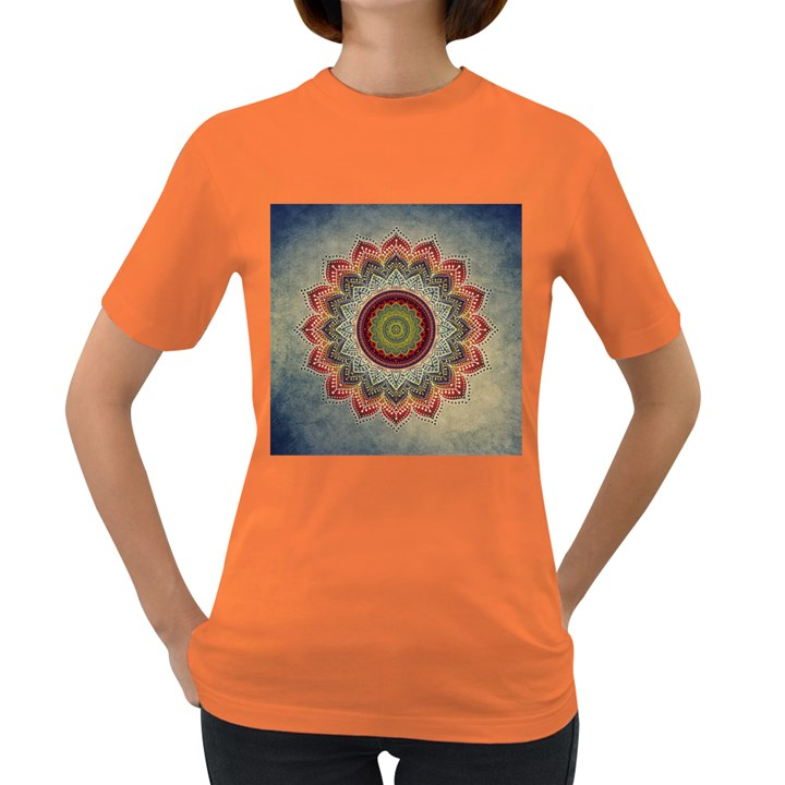Folk Art Lotus Mandala Dirty Blue Red Women s Dark T-Shirt