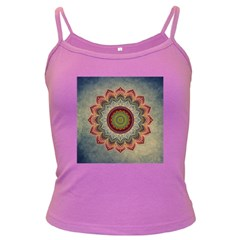 Folk Art Lotus Mandala Dirty Blue Red Dark Spaghetti Tank