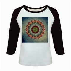 Folk Art Lotus Mandala Dirty Blue Red Kids Baseball Jerseys