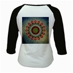 Folk Art Lotus Mandala Dirty Blue Red Kids Baseball Jerseys Back