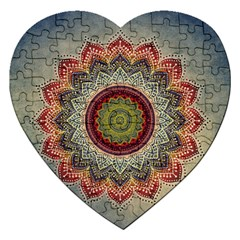Folk Art Lotus Mandala Dirty Blue Red Jigsaw Puzzle (heart)