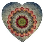 Folk Art Lotus Mandala Dirty Blue Red Jigsaw Puzzle (Heart) Front