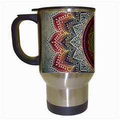 Folk Art Lotus Mandala Dirty Blue Red Travel Mugs (white)