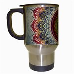 Folk Art Lotus Mandala Dirty Blue Red Travel Mugs (White) Left