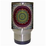 Folk Art Lotus Mandala Dirty Blue Red Travel Mugs (White) Center