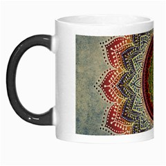 Folk Art Lotus Mandala Dirty Blue Red Morph Mugs