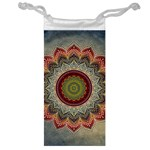 Folk Art Lotus Mandala Dirty Blue Red Jewelry Bags Front